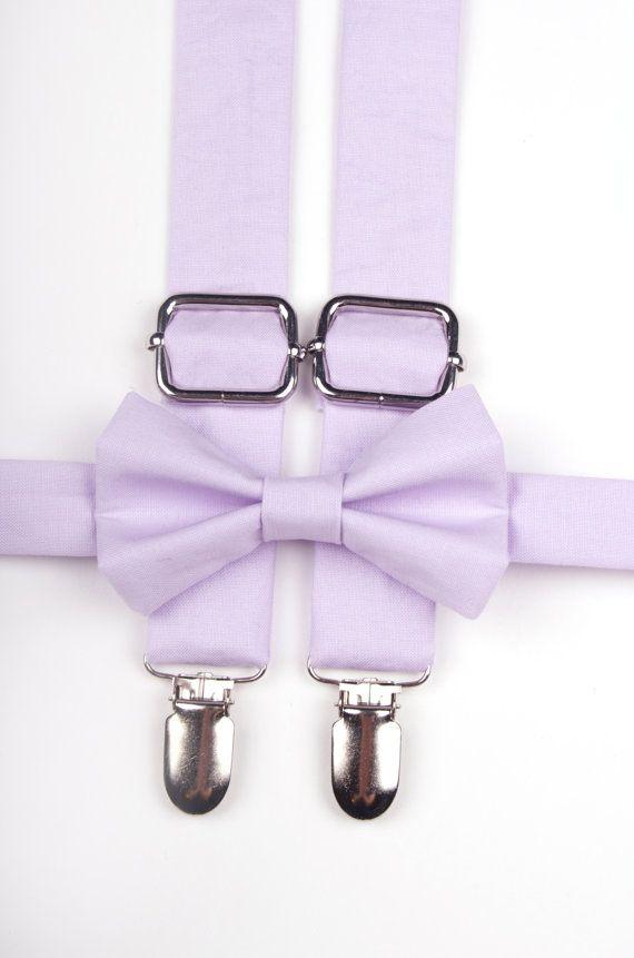 Lavender bow tie & suspenders purple suspenders by DapperGent