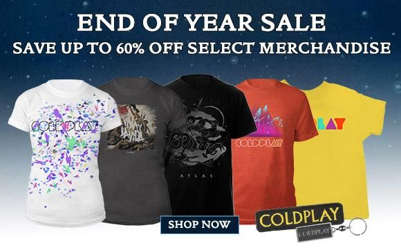 Save up to 60% on a range of Coldplay merchandise in our End Of Year Sale, at http://smarturl.it/cpsale . A