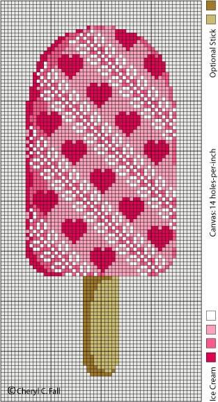 February - View Full-SizePoint, Ice Cream Pops, Sticks Pattern, Stitches Charts, Crosses Stitches, Cross Stitches, Icecream, Cross