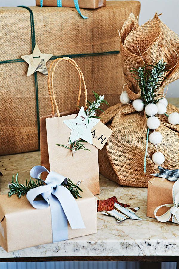 Christmas Wrapping ideas burlap and greenery
