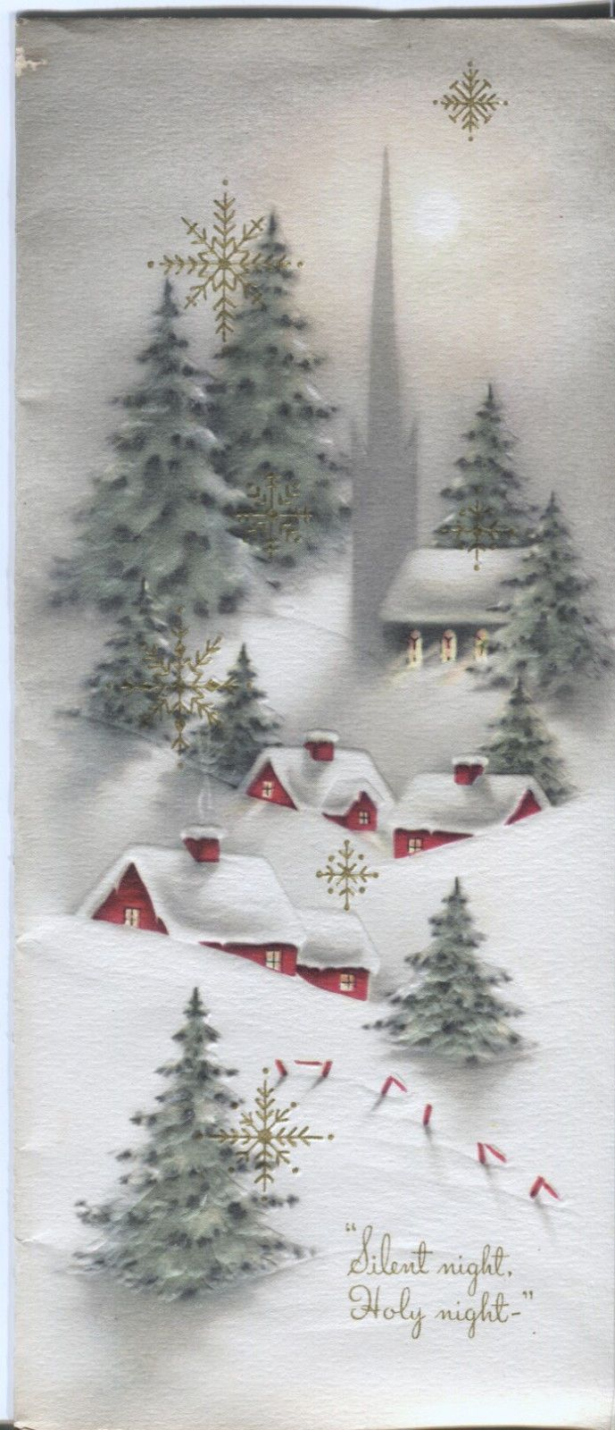 Vintage Christmas Card Snowy Village Scene: