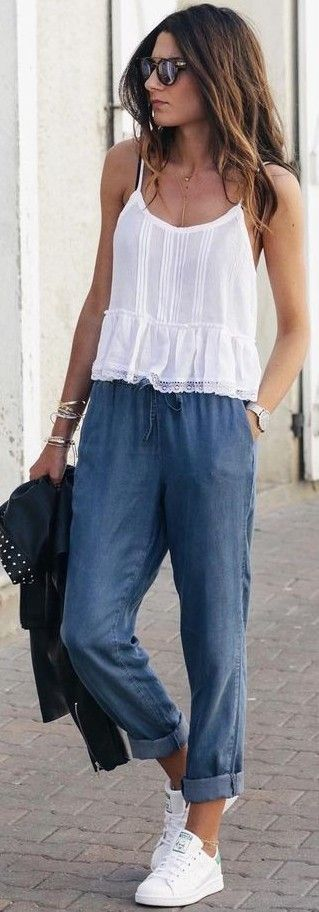 #summer #hot #weather #outfits | Cami + Joggers