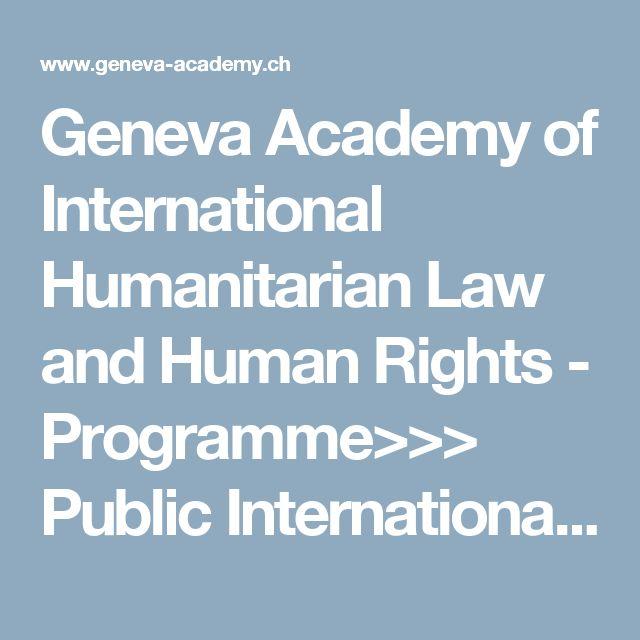 Geneva Academy of International Humanitarian Law and Human Rights - Programme>>> Public International Law