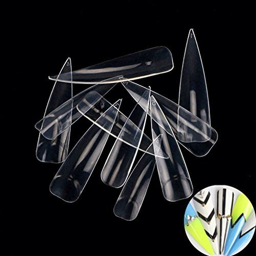 enForten 500Pcs Clear Long Sharp Stiletto Fake Nail Tips ...