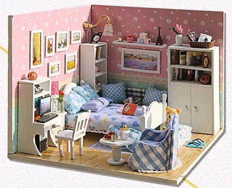 Модель для сборки, розовая спальня
