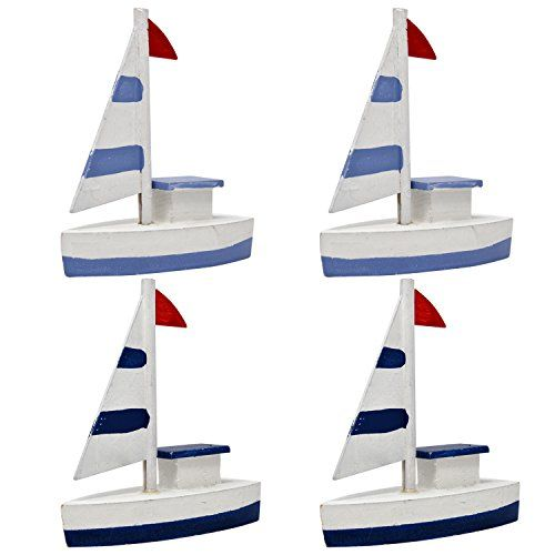 Set of 4 Decorative Miniature Nautical Wooden Sailboats Toy Ship Model Figurine For Home Kitchen Bathroom Coastal Fishing Beach Theme Bedroom Baby Shower and Wedding Party Supplies Accessories *** Find out more about the great product at the image link. (This is an affiliate link and I receive a commission for the sales)