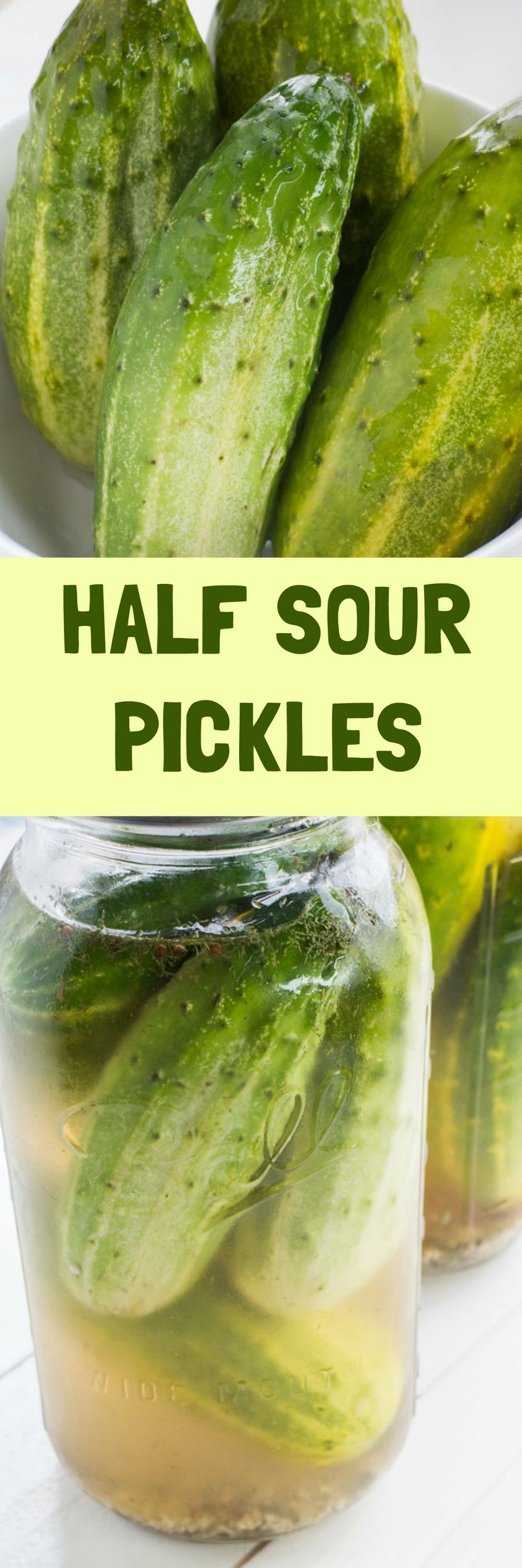 The best Half Sour Pickles recipe there is! These taste like crunchy NY deli pickles!