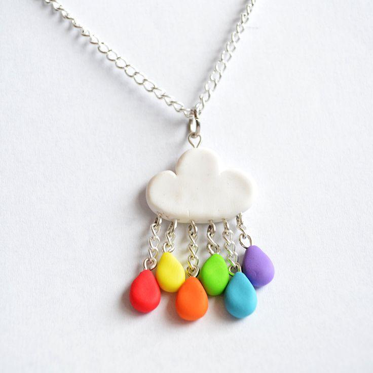 Cute Rainbow Rain Cloud Pendant Necklace - Kawaii Cloud Polymer Clay Jewellery. £7.80, via Etsy.