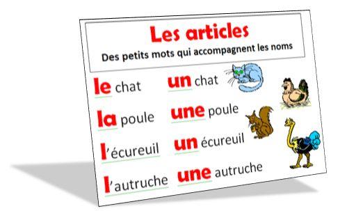 Étude de la grammaire au CP , module 1 : Les articles et les noms  A la fin des ces séquences, l'élève doit être capable :      d'utiliser correctement les articles : le, la , l', un, une, les, des,     de reconnaître un nom d'animal, de chose, de personne,     de trouver le genre d'un nom au pluriel.