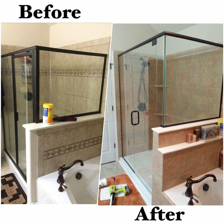 new rebath terra stone wall system with custom frameless glass shower enclosure