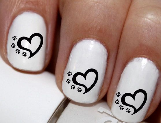 20 pc Dog Paws Pet Paw Heart Love My Dog Nail by EasyNailTrends