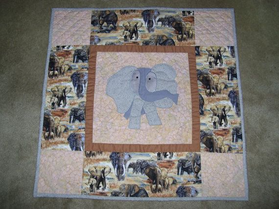 Elephant quilt-baby elephant quilt-machine quilted by AQuiltingV