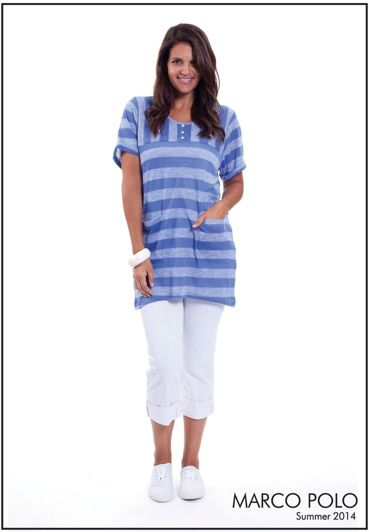 Short Sleeve Stripe Boxy Tunic- 14S726702M