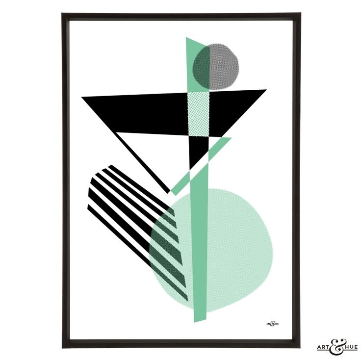 Unframed Midcentury Memphis martini abstract art print on 310gsm fine art archival matte paper, 100% cotton, using pigment inks which last a lifetime.