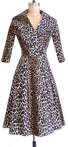 Courtney Coat Dress | 50's Leopard | Pin Up Girl Outerwear | Trashy Diva: