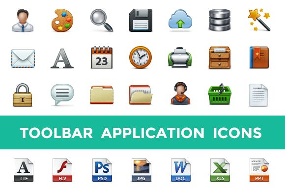 Check out Toolbar Application Icon Set by Web Icon Set on Creative Market
