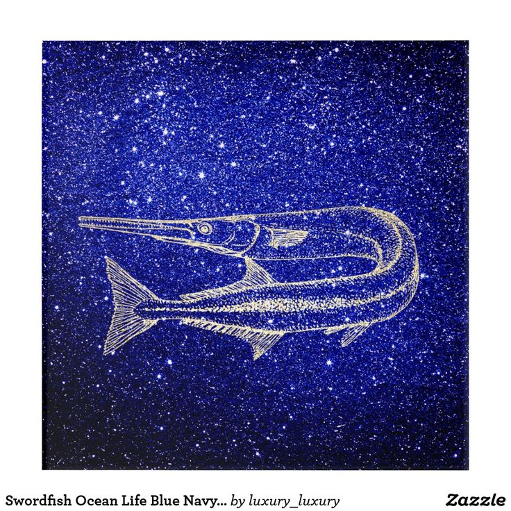 Swordfish Ocean Life Blue Navy Foxier Gold