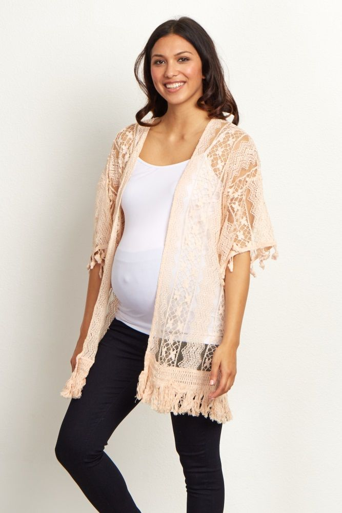 This delicate layering piece is just the thing to take your basics to the next level. You can easily layer this lace maternity cardigan over a cami and pair with jeans for a casually feminine ensemble. With a fringed detail, this pretty maternity cardigan is unlike any other.