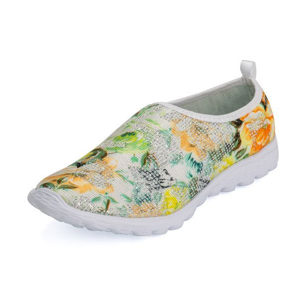 2016 New Fashion casual women shoes zapatos mujer jogging shoes Floral printed chaussure femme massage sapatilhas Flat footwear
