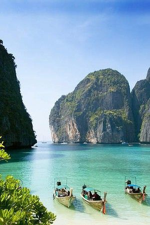 Maya Bay, Krabi, Thailand. Krabi lies just a 45-minute boat ride across the Andaman Sea from Phuket. But you can spare yourself the trip to Phuket — plenty of riches lie here, and you don't have to fight the crowds to enjoy them. Krabi sits next to the Mu
