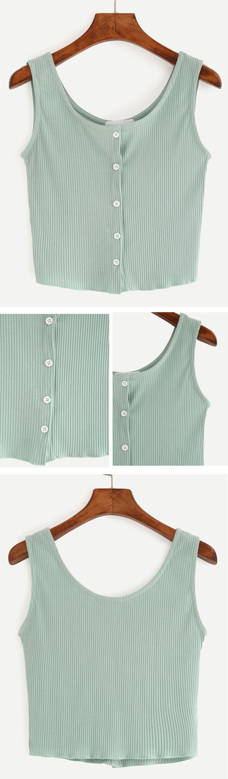 ♔ pinterest: brinnxo ♡ Buttoned Front Ribbed Knit Crop Tank Top - Green