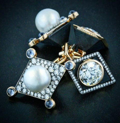 A pair of natural pearl, old mine diamond, black jade, sapphire gold and platinum cufflinks. By Taffin jewellery, James de Givenchy.