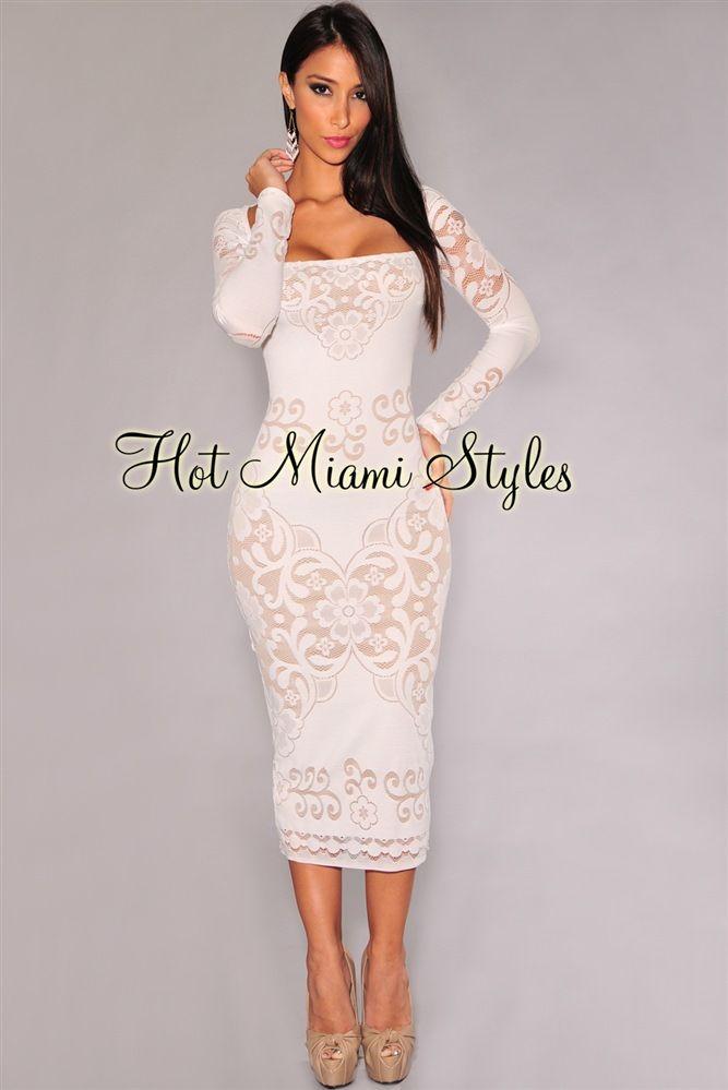 b0b81a4647e57 Off-White Floral Lace Nude Illusion Midi Dress in 2019   dresses for ...
