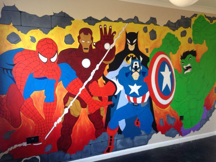 My sons bedroom wall mural spiderman batman ironman - Poster mural spiderman ...