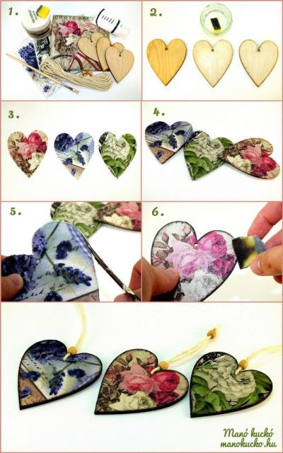 Decoupage ajándék ötlet - Fa szív saját kezűleg - Manó kuckó
