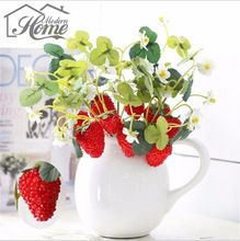 4 Heads Fruit Strawberries Artificial Flowers Paddle Strawberry Fruit Decoration Mulberry Photo Props Home Decor DIY(China (Mainland))