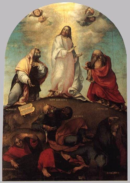 LOTTO, Lorenzo .  Trasfigurazione. c. 1511. Olio su tavola, 300 x 203 cm. Pinacoteca Civica, Recanati