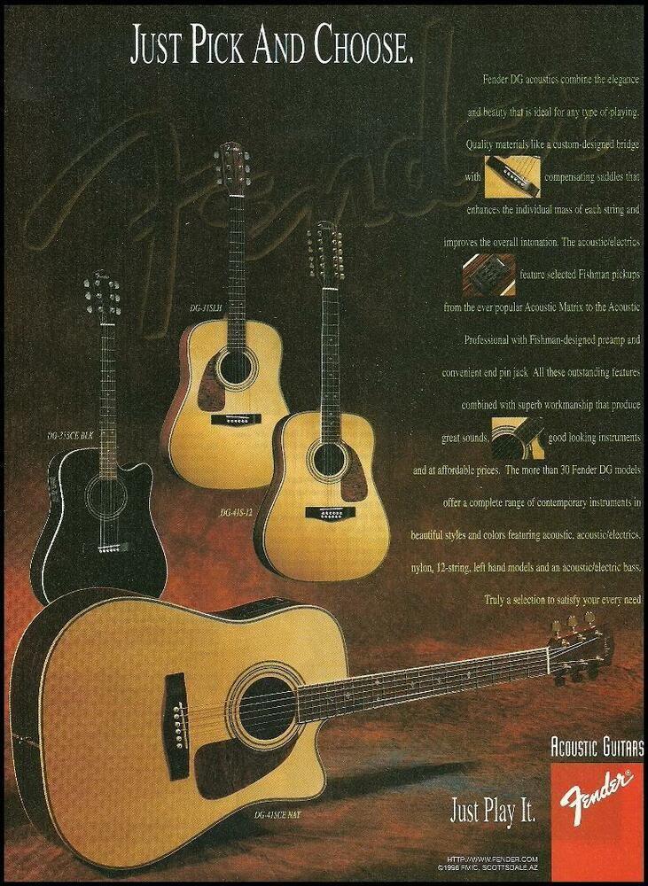Fender Dg Series Acoustic Guitar 8 X 11 Advertisement 1996 Ad Print Fender Acoustic Guitar Acoustic Guitar Lessons Fender Guitar Amps