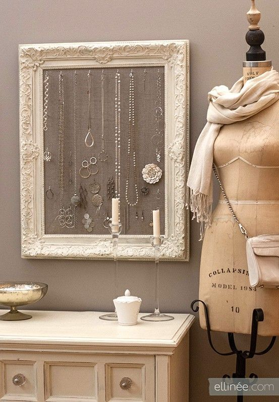DIY: antique frame jewelry holder. This is super nifty! You can hang necklaces and earrings as well.