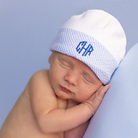 Here's the newest boy version of the Melondipity.com personalized, customized hospital newborn baby hat! Super soft, premium organic cotton with a sear sucker brim, personalized with his initials! Price: $26.99