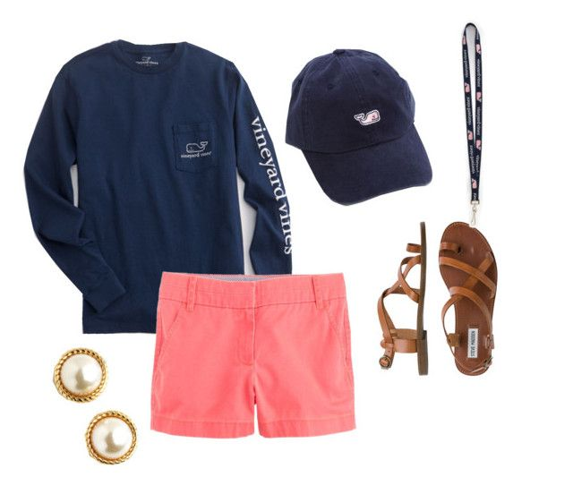 """Preppy in the spring"" by hungergamesgymnast ❤ liked on Polyvore featuring Vineyard Vines, Steve Madden, Kate Spade and J.Crew"