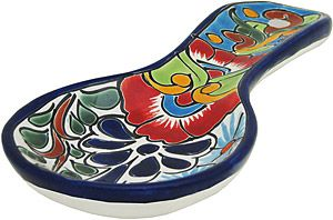 Never make a mess on your kitchen counter again!  These Talavera spoon rests are 100% lead free and won't easily chip or crack.  Made in Mexico by hand, authentic Talavera makes a beautiful addition to any kitchen. Includes a large eyelet for easy hanging.