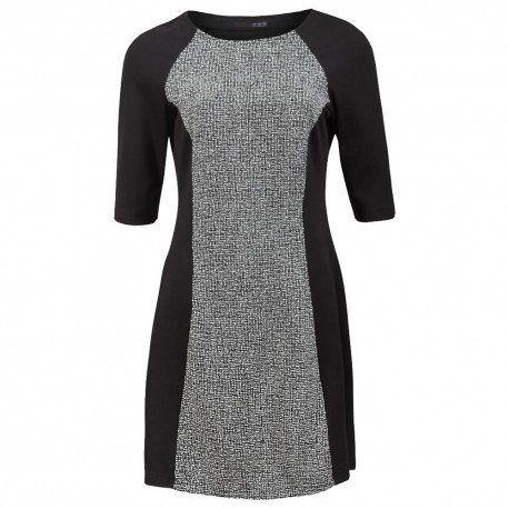 Vestido blanco y negro de manga tres cuartos.Material(es) 92% Poliéster, 5% Viscosa y 3% Elastano.Color(es) Blanco, Negro y Gris.