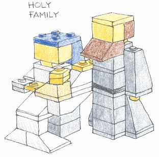 Nativity Scene built using LEGO. Incredible! Detailed instructions with drawings and list of pieces needed.