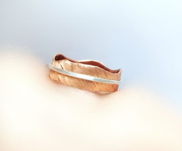 Statement 925 Silver and Copper Band Ring Silver Wire and Handmade Cut Copper Band OOAK Copper Band Ring Copper Band Jewelries Summer Trend by mssdelilah on Etsy