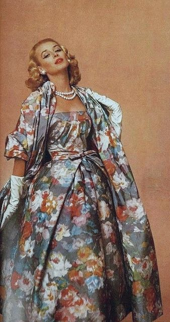 Imagine this print in grays, white and black, without the coat. that was my junior prom dress! Gorgeous 1950s