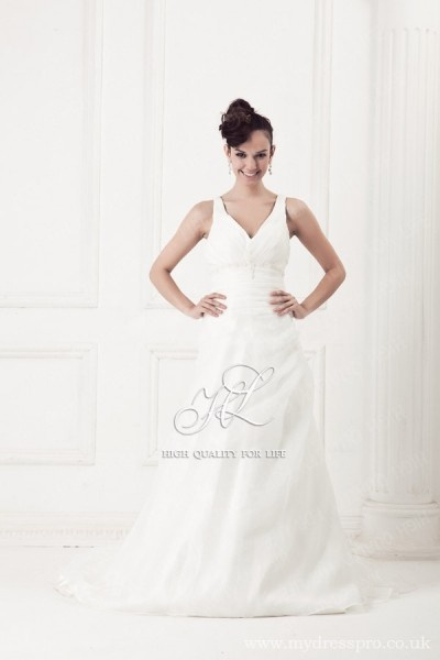 Empire ivory V-neck Floor-length Organza Wedding Dress ru_0011  http://www.mydresspro.co.uk/194-09-2012