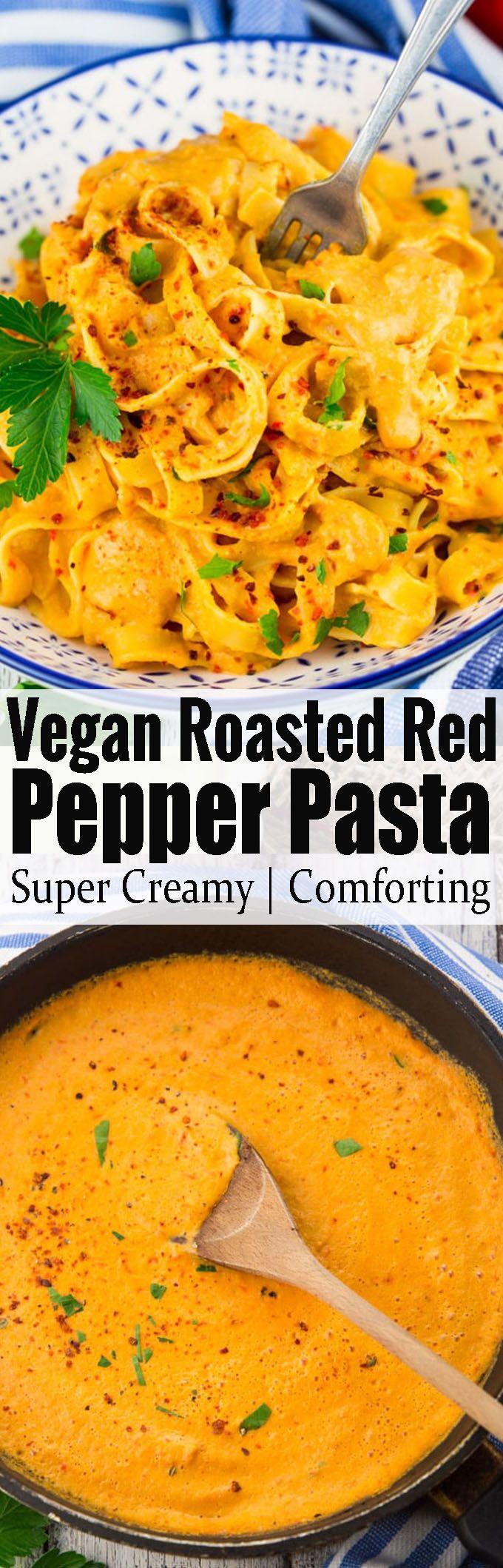 This vegan roasted red pepper pasta makes such a delicious vegan dinner! It's the ultimate vegan comfort food! Find more vegan recipes at veganheaven.org!