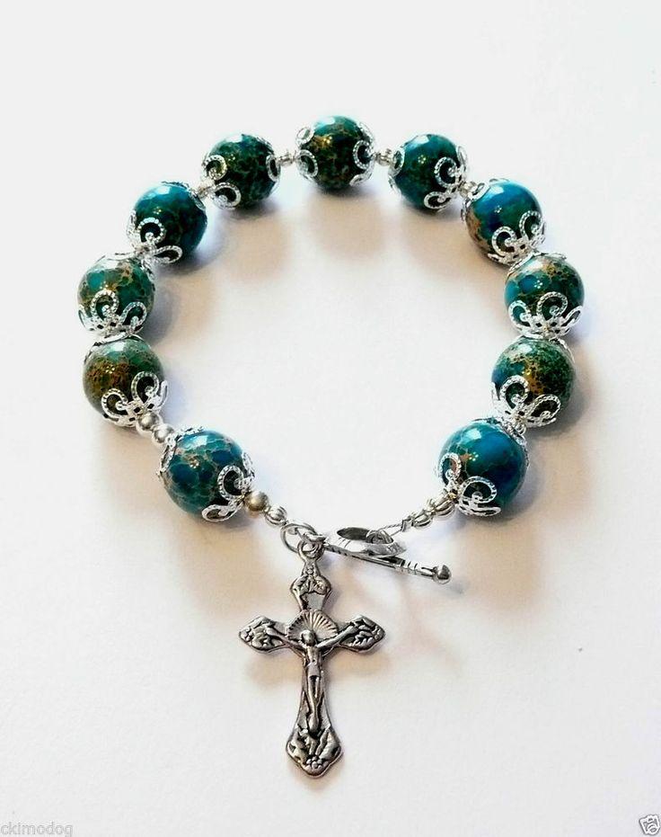 Genuine Turquoise Ocean Jasper Antique Silver Rosary Prayer Bracelet