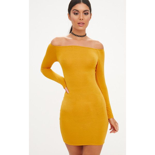 Basic Mustard Bardot Bodycon Dress ($13) ❤ liked on Polyvore featuring dresses, yellow, mustard yellow bodycon dress, yellow cocktail dress, mustard yellow dresses, yellow bodycon dress and bodycon cocktail dresses