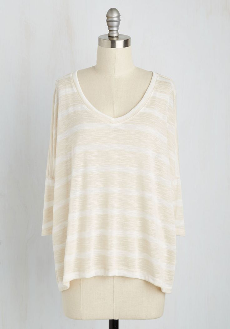 Destination Brainstorming Top. Imagining yourself behind the wheel in this light knit top, you create a preliminary list of dream destinations. #tan #modcloth