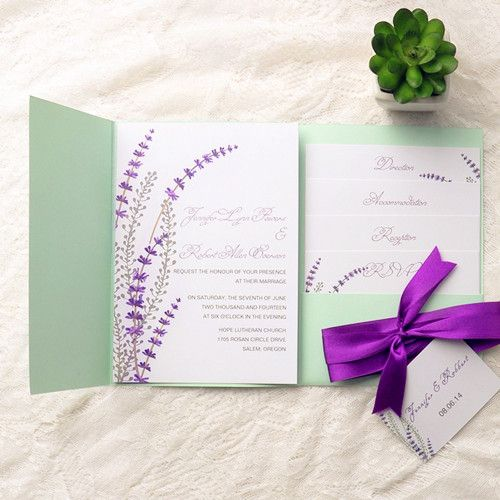 74 best green wedding invitations images on pinterest green affordable mint green pocket purple ribbon spring wedding invitations ewpi115 solutioingenieria