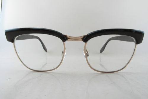 13ed38d2cec 1950s eyeglass frames with gold filled bridge and lens surrounds. Made by  Indo in Spain.