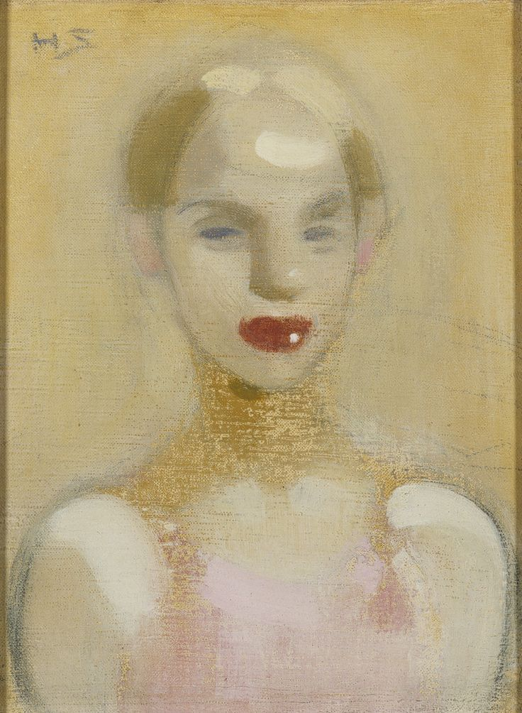 'Circus Girl' - 1916 - by Helene Schjerfbeck (Finnish, 1862-1946) - Oil on canvas - 43.00x36.50cm. - Ateneum Art Museum - @~ Mlle