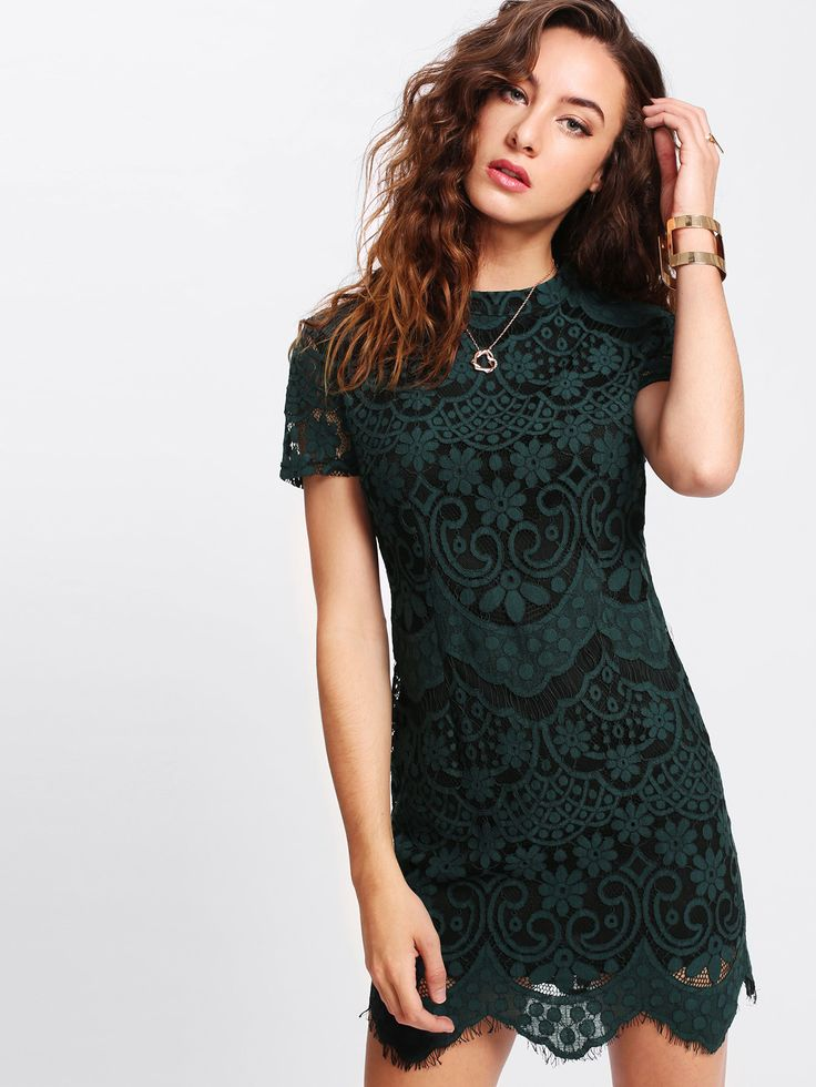 Shop Mock Neck Lace Overlay Dress online. SheIn offers Mock Neck Lace Overlay Dress & more to fit your fashionable needs.
