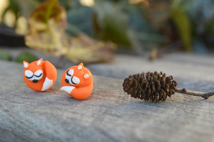 Fimo fox, fimo fox earrings, handmade gift for her, children earrings, daughter gift, fimo jewelry - Now in MichaelaCraft.com & see my etsy store below  https://www.etsy.com/ca/listing/500109192/fox-earrings-cute-handmade-jewelry